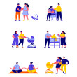 Set of flat people pregnancy and maternity scenes characters. Cartoon tiny people on street isolated on white background. Flat vector Illustration. Collection people characters.