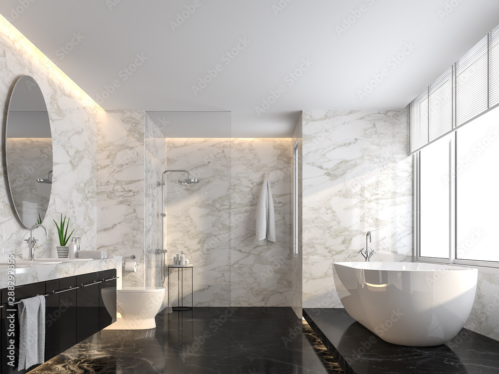 Fototapeta Luxury bathroom with black marble floor and white marble wall 3d render,The room has a clear glass shower partition,There are large windows natural light shining into the room.