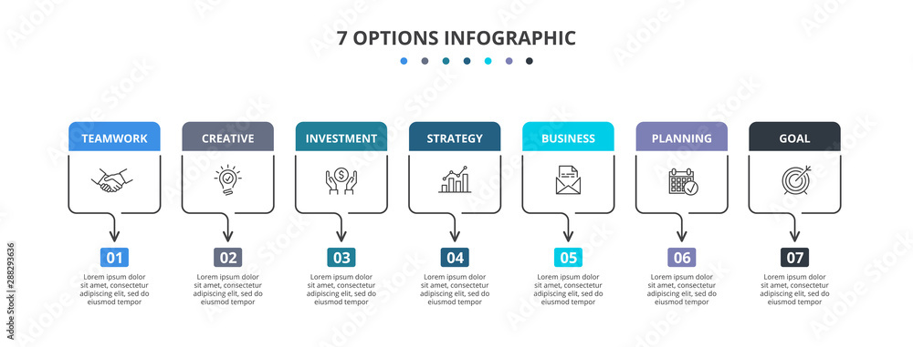 Fototapety, obrazy: Thin lines rectangles with color elements. Seven infographic elements. Business template for presentation.