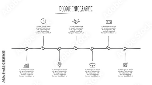 Fotografia  Doodle infographic timeline with 7 options
