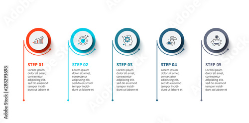 Fotomural Infographic illustration with 5 steps or options
