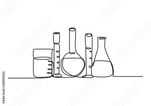 Continuous line art drawing chemical science flask. Scientific technology research medicine glass equipment design one sketch outline drawing vector illustration