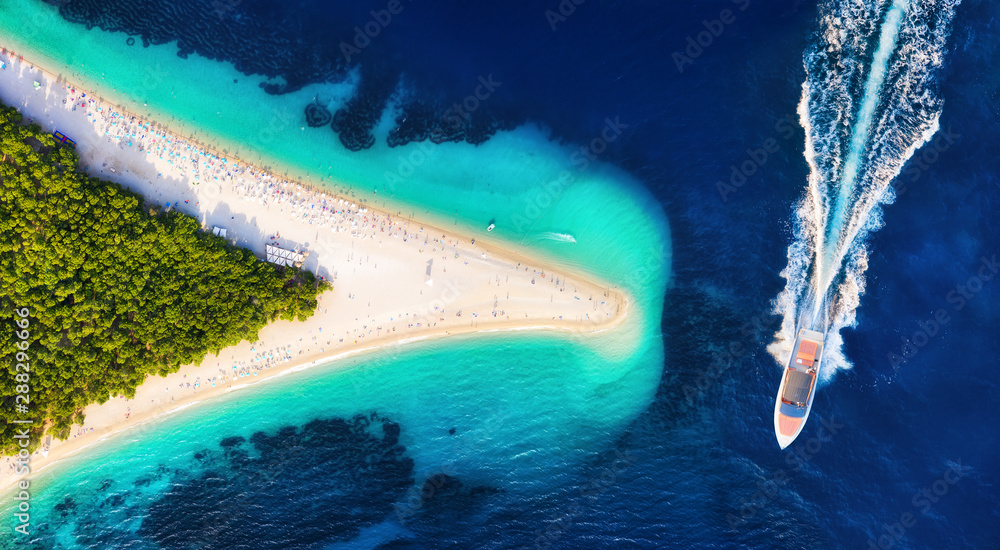 Fototapety, obrazy: Croatia, Hvar island, Bol. Aerial view at the Zlatni Rat. Aerial view of luxury floating boat on blue Adriatic sea at sunny day. Travel - image