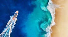 Panorama Of A Coast And Fast Boat As A Background From Top View. Aerial View Of Luxury Floating Boat.   Nusa Penida Island, Indonesia. Travel - Image