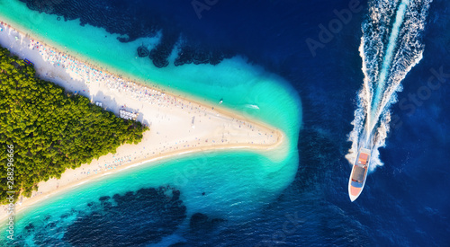 Canvas Prints Island Croatia, Hvar island, Bol. Aerial view at the Zlatni Rat. Aerial view of luxury floating boat on blue Adriatic sea at sunny day. Travel - image
