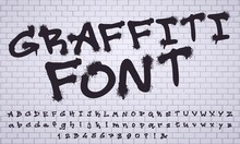 Spray Graffiti Font. City Street Art Wall Tagging Lettering, Dirty Graffitis Numbers And Letters. Grunge Alphabet, Street Art Graffiti Sprayed Abc Lettering. Isolated Vector Symbols Set