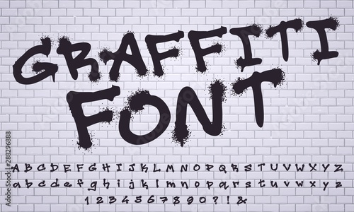 Recess Fitting Graffiti Spray graffiti font. City street art wall tagging lettering, dirty graffitis numbers and letters. Grunge alphabet, street art graffiti sprayed abc lettering. Isolated vector symbols set