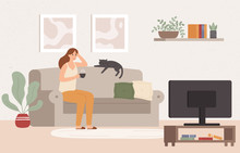 Young Woman Watch TV. Girl Lying On Couch With Coffee Mug And Watching Television Show Series. Female Resting At Cozy Living Room After Work And Watch Movie Vector Illustration