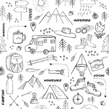 Seamless Pattern With Hand Drawn Elements Related To Hiking, Camping And Travelling