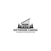 Outdoor Cabin Logo Design - House Outdoor - House Tree Forest