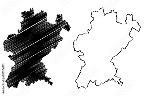 Santarem District (Portuguese Republic, Portugal) map vector illustration, scrib Tablou Canvas