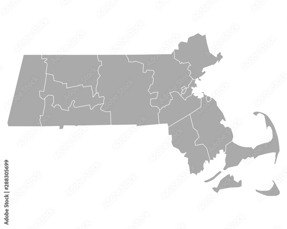 Fototapety, obrazy: Karte von Massachusetts
