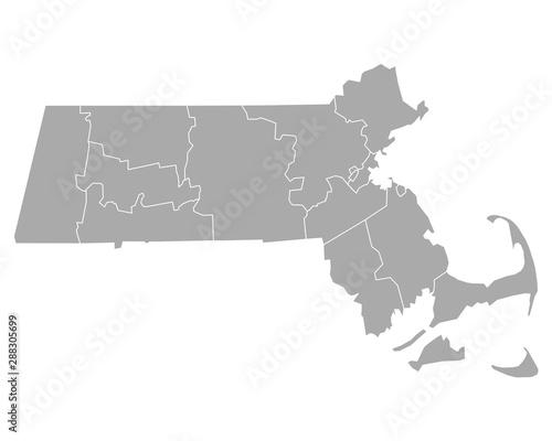 Tela Karte von Massachusetts