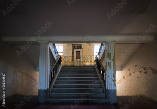 Papel de parede  Stairwell of former historical headquarters barracks, Haus der Offiziere, aban