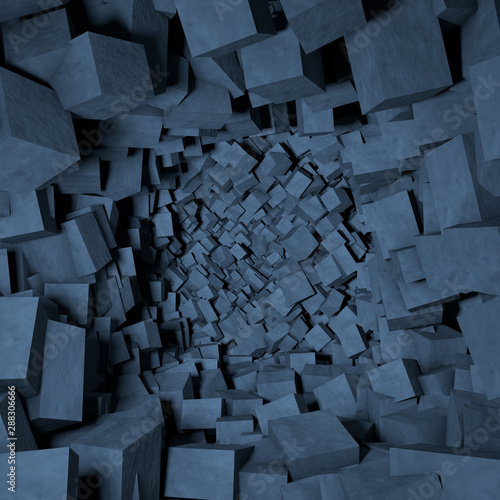 Contemporary abstract background of destroyed concrete cubes Canvas Print