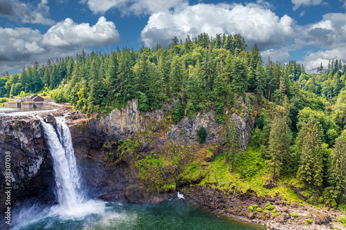 Foto op Aluminium Pistache View of Snoqualmie Falls, near Seattle in the Pacific Northwest