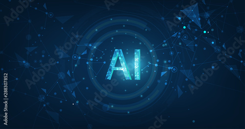 Obraz Abstract futuristic digital and technology on dark blue color background. AI(Artificial Intelligence) wording with the circuit design. - fototapety do salonu