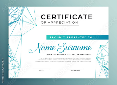 Fotografía low poly style modern certificate template design