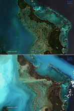 Satellite Images Of Great Abaco, Before And After Hurricane Dorian Passed By - Contains Modified Copernicus Sentinel Data (2019)
