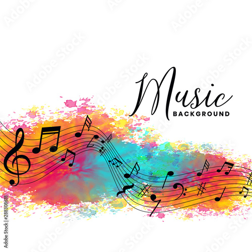 Fototapeta abstract watercolor music background with notes symbols obraz