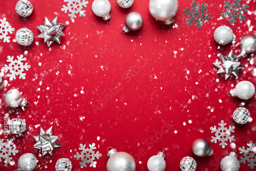 Fotografie, Obraz  Red Merry Christmas and Happy Holidays greeting card, frame, banner