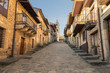 Nice medieval-style street of Puebla de Sanabria at sunset