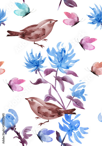romantic seamless texture with stylized blue flowers and birds. watercolor painting