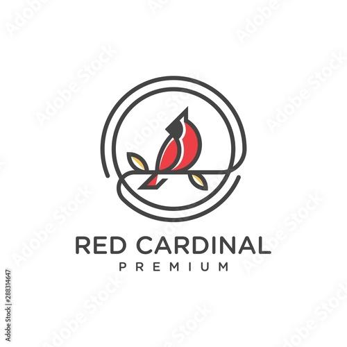 Photo unique red cardinal logo - vector illustration design on a light background