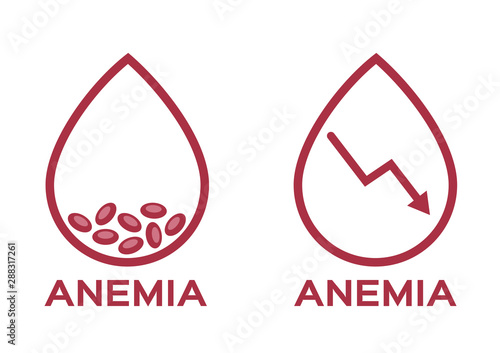 Photo anemia vector . low red blood cell icon