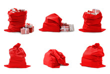 Set Of Santa Claus Red Bags On White Background