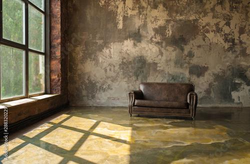 Fototapeta Warm Loft Interior with leather sofa obraz