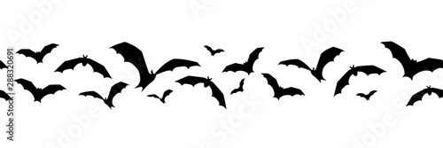 Cuadros en Lienzo Vector horizontal seamless background with bats on a white background