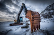 canvas print picture - Old excavator in winter