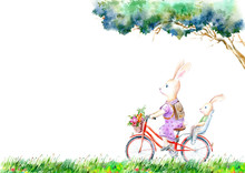 Hare And Leveret On A Bicycle And Flowers Meadow.Summer Picture.Mother Rabbit With Baby. White Background.Watercolor Hand Drawn Illustration.