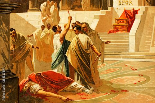 Obraz na plátně Death of Gaius Julius Caesar, Roman emperor