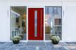 canvas print picture - Haustür rot mit Glaseinsatz