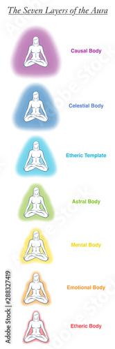 Photo Seven aura bodies chart of a meditating yoga woman