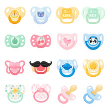 Baby Nipples Flat Color Vector Illustrations Set