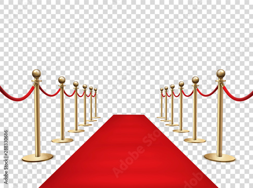 Fotomural  Red carpet and golden barriers realistic 3d vector illustration