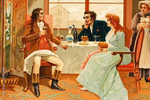 Fotografie, Obraz  Camille Desmoulins (left) talking with friends
