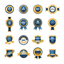 Luxury Gold Badges Quality Labels Premium Set.