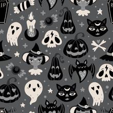 Halloween Holiday Cute Seamles...
