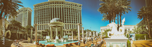 LAS VEGAS - JUNE 27, 2019: Panoramic view of Caesar Palace pools Canvas Print
