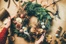 Top View Christmas Wreath On C...