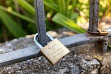 Brass Padlock Or Love Lock Wit...