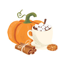 Autumn Vector Isolated Thanksgiving Hygge Cozy Illustration With Pumpkin, Mug Of Cocoa, Marshmallows, Cinnamon Sticks And Dried Orange Slice On The White Background.