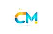 letter combination cm c m orange blue alphabet for company logo