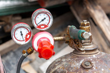 Close Up Of Pressure Gauges On Oxygen Tank With Valve Of Welding Equipment Acetylene Gas Cylinder For Steel Industrial And Metal Working Construction.