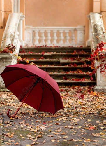 Fototapety, obrazy: Autumn leaf fall. Red and yellow leaves on the destroyed old stone steps burgundy (marsala color) umbrella.