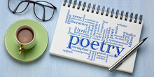 Poetry Word Cloud In A Sketchbook - Banner